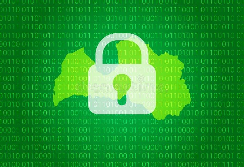 łotwa mapa ilustracja z kędziorka i binarnego kodu tłem interneta bloking, wirusa atak, prywatności gacenie royalty ilustracja