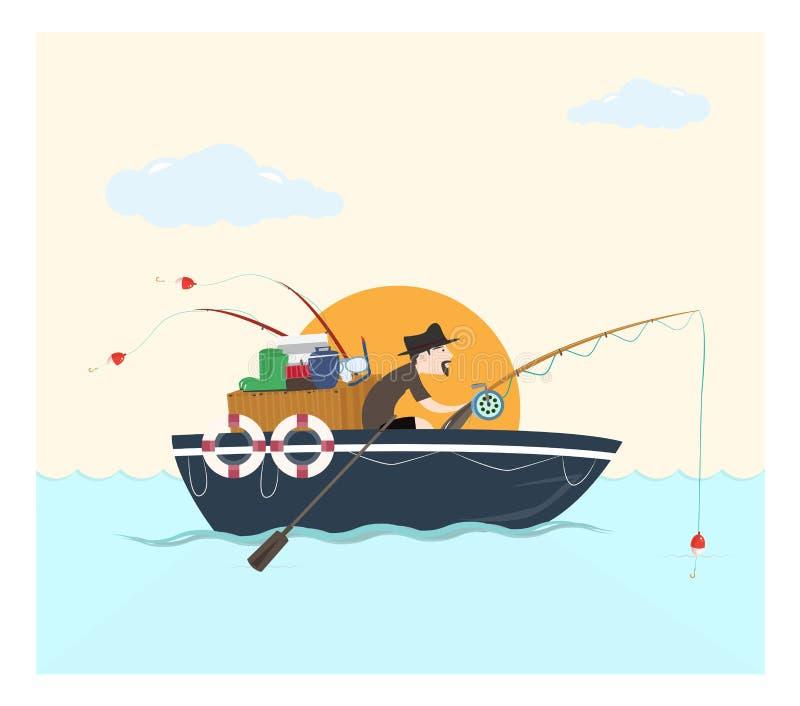 Łowiący na łodzi, wektorowa ilustracja ilustracji