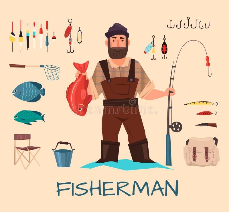 Łowiący narzędzia ilustracyjnych ilustracja wektor