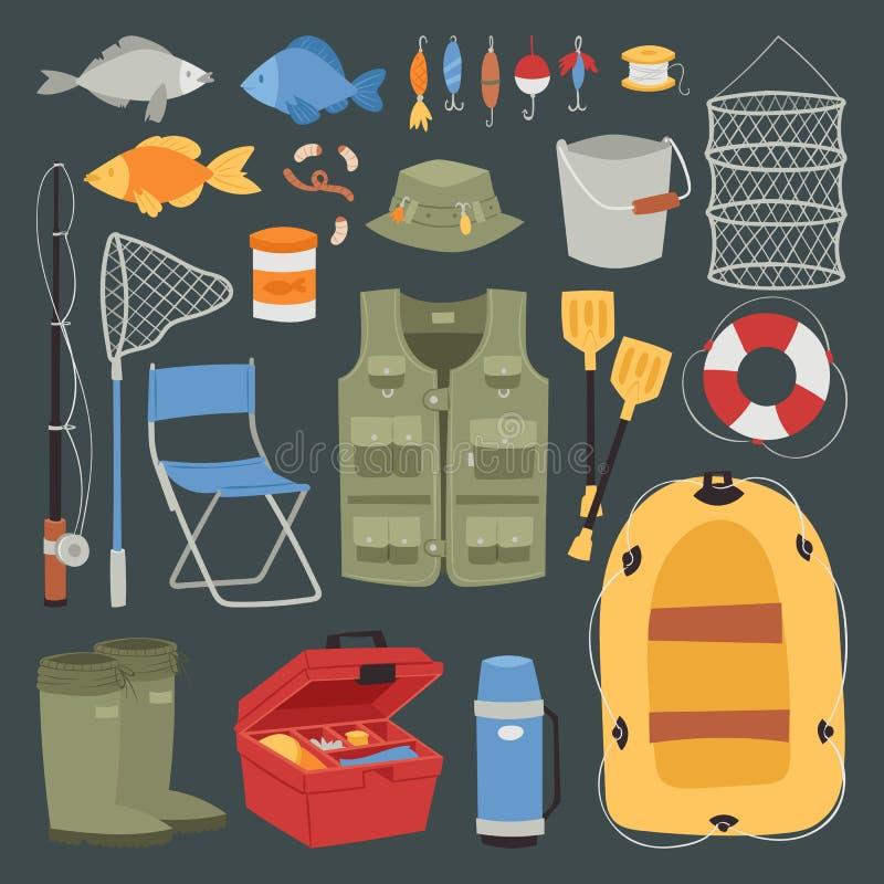 Łowiący plenerowe urlopowe ikony ustawiającego zabawy aktywności rybołówstwa odizolowywającego hobby projektuje wektorową ilustra royalty ilustracja