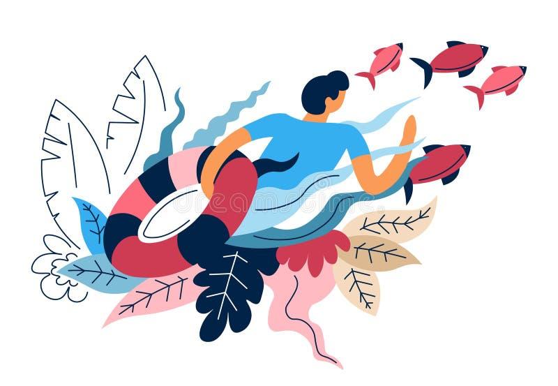 Łowiący sporta rybaka rybiego i lifebuoy rybołówstwa wyposażenie royalty ilustracja