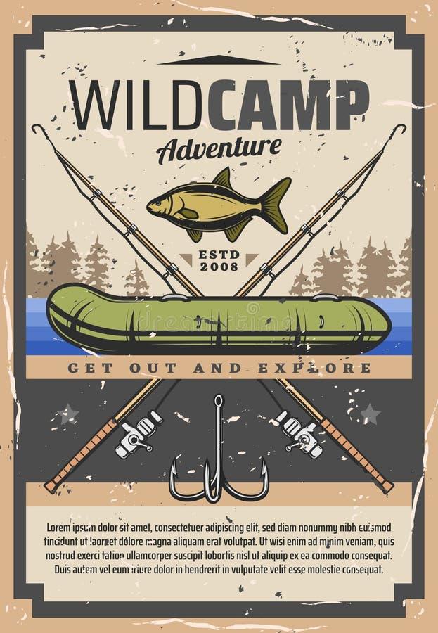 Łowić dziką obozową przygodę, fisher wyposażenie ilustracja wektor