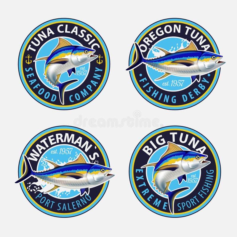 Łowić etykietki, odznaki, emblematy i projektów elementy, Ilustracje tuńczyk royalty ilustracja