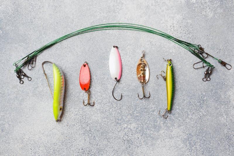 Łowić haczy i popasy w secie dla łapać różnej ryby na popielatym tle z kopii przestrzenią Mieszkanie nieatutowy obraz royalty free