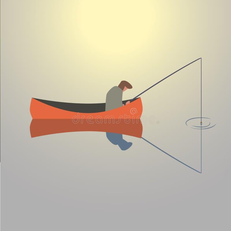 Łowić mężczyzna ikonę ilustracja wektor