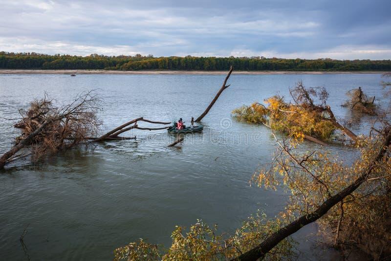 Łowić na Ob rzece Zachodni Syberia obrazy royalty free