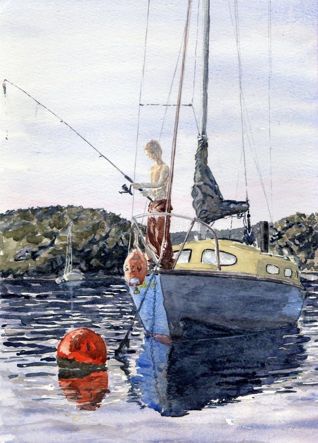 Łowić na rzece ilustracji