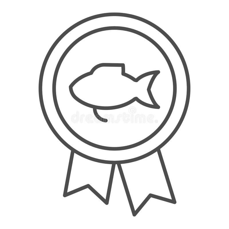 Łowić nagrody cienką kreskową ikonę Połowu medalu wektorowa ilustracja odizolowywająca na bielu Nagroda konturu stylu projekt, pr royalty ilustracja