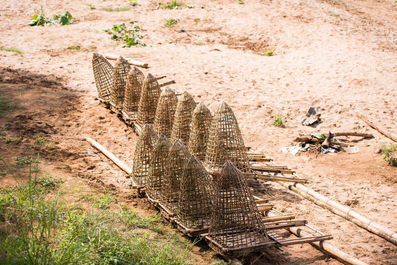 Łowić oklepa na brzeg rzeki Nam Khan rzece, Luang Prabang, Laos Odbitkowa przestrzeń dla teksta zdjęcia stock