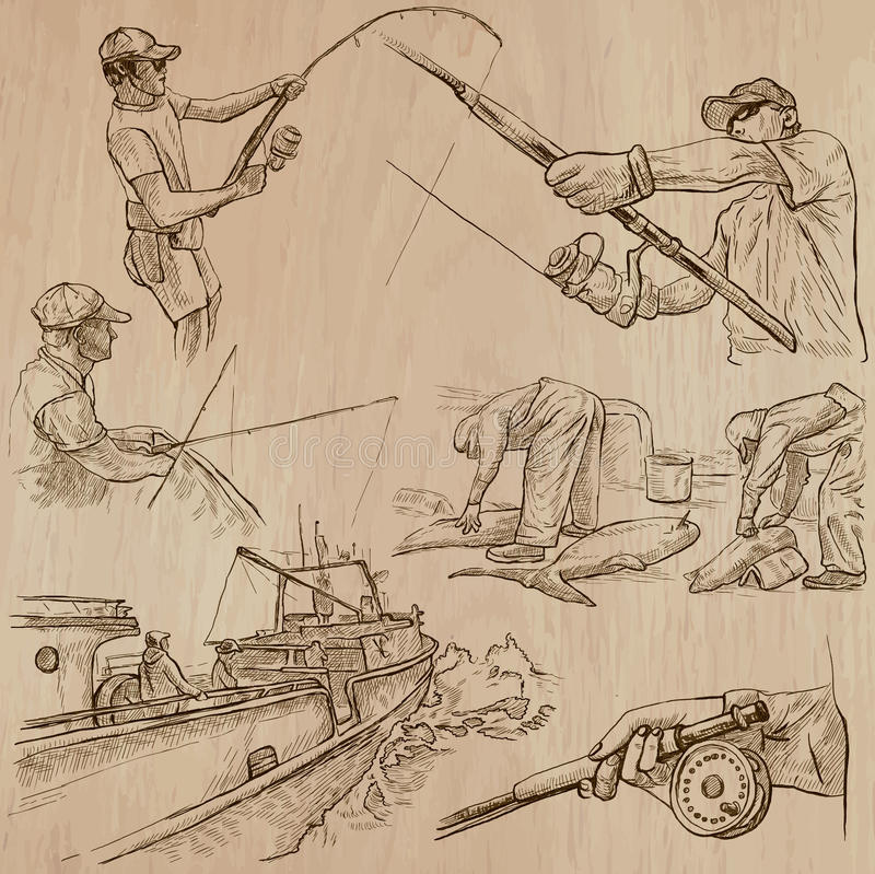 Łowić - ręka rysująca wektor paczka ilustracja wektor