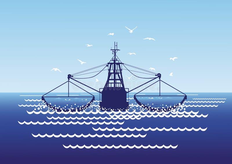 Łowić w dennych dryftowych sieciach ilustracja wektor