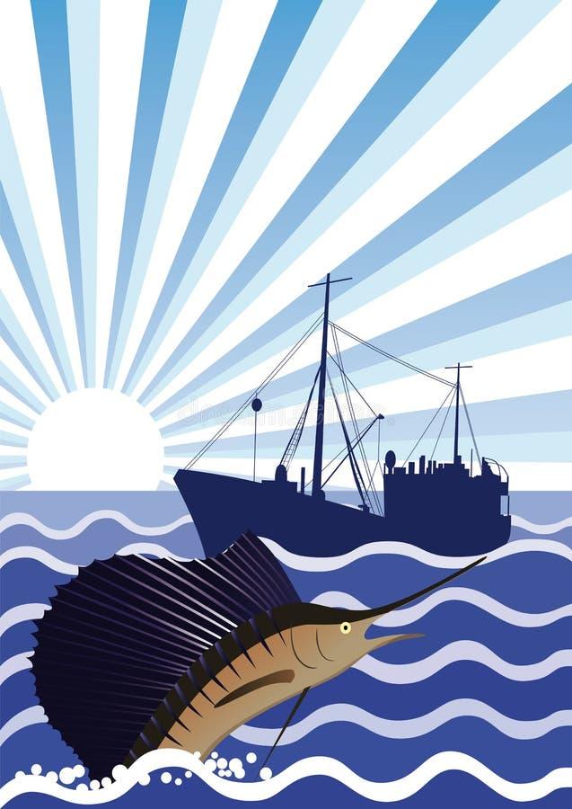 Łowić w morzu ilustracji