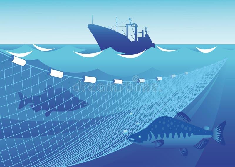 Łowić w morzu ilustracja wektor