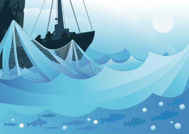 Łowić w morzu royalty ilustracja