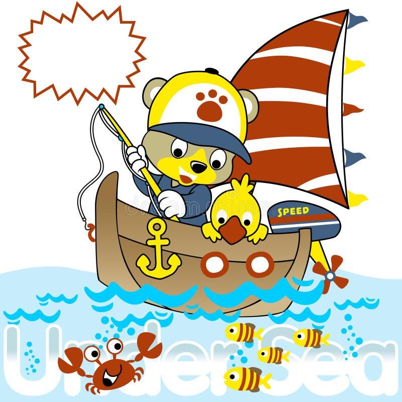 Łowić z śmieszną zwierzę kreskówką ilustracji