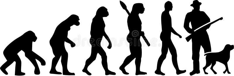 Łowiecka ewolucja z psem ilustracja wektor