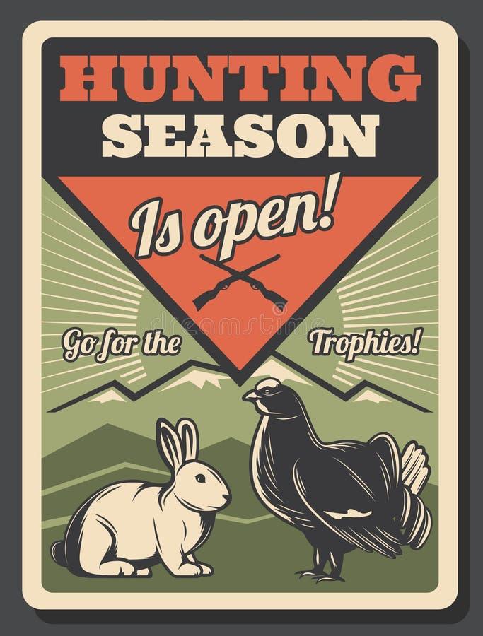 Łowiecki sezon otwiera retro plakat z grze ilustracji