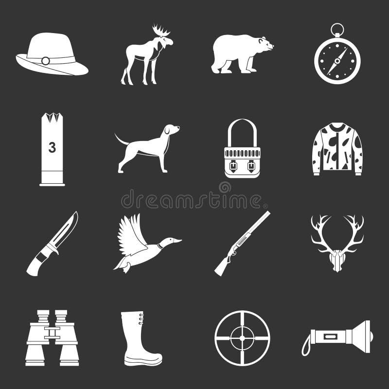 Łowieckie ikony ustawiać siwieją wektor ilustracji