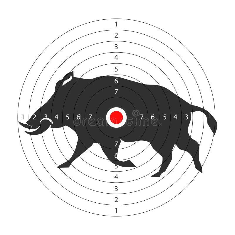 Łowieckiego zwierzęcego celu ikony wektorowy szablon dla aper wieprza polowania szkolenia ilustracja wektor