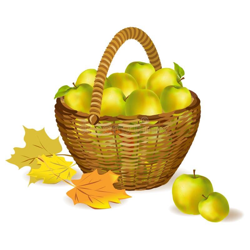 Łozinowy kosz z jabłkami i jesień liśćmi ilustracji