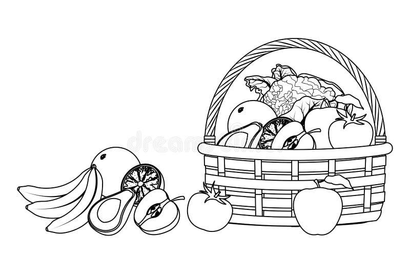 Łozinowy kosz z owoc i warzywo czarny i biały royalty ilustracja