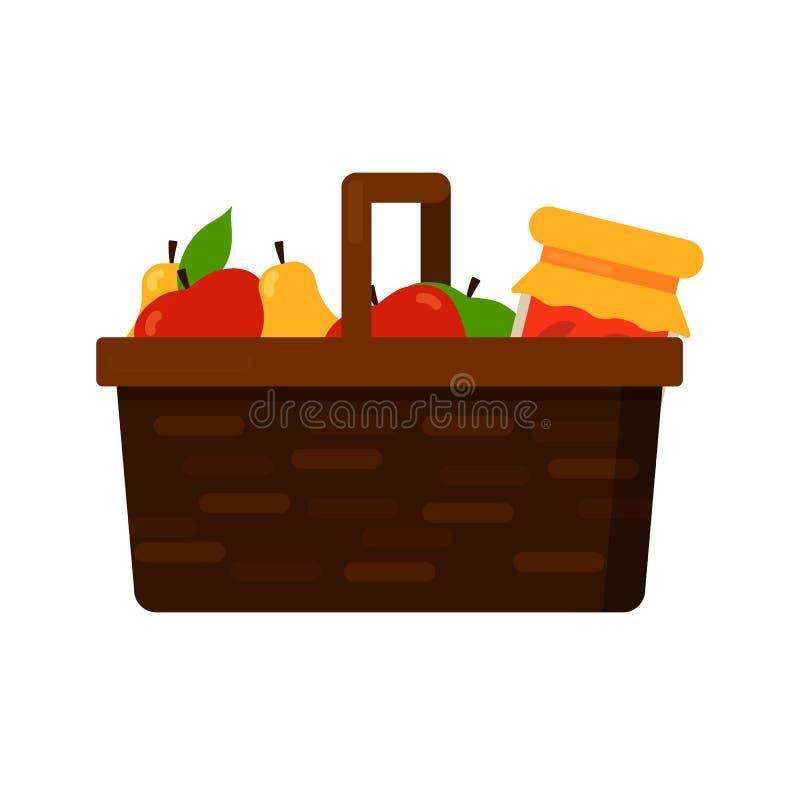 Łozinowy kosz z owoc jabłko, bonkreta i dżem ilustracji