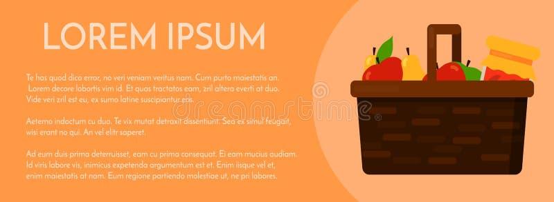 Łozinowy kosz z owoc sztandaru plakata szablonem ilustracji