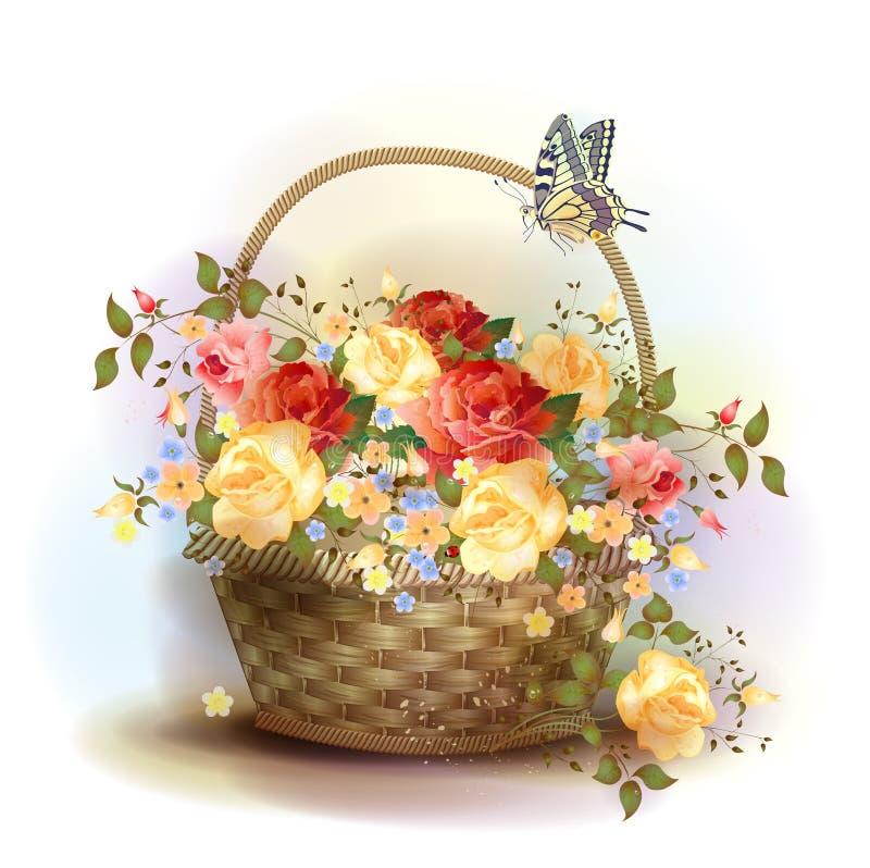 Łozinowy kosz z różami. ilustracji