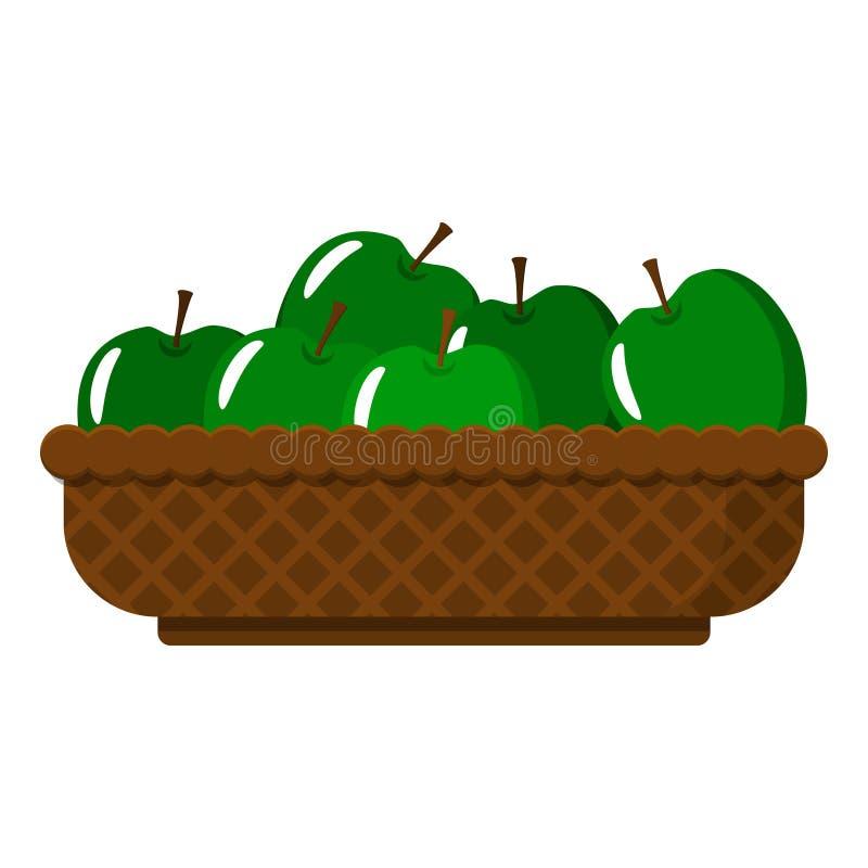 Łozinowy kosz z soczystymi zielonymi jabłkami Wektorowy przedmiot ilustracji