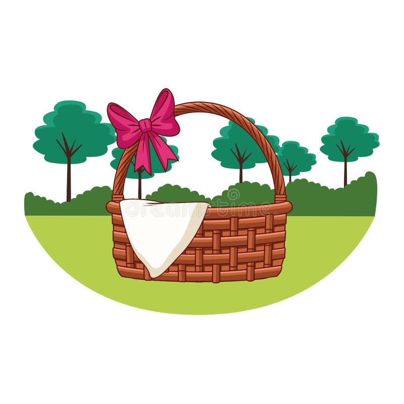 Łozinowy kosz z tasiemkową i sukienną natur drzew tła round ramą ilustracji