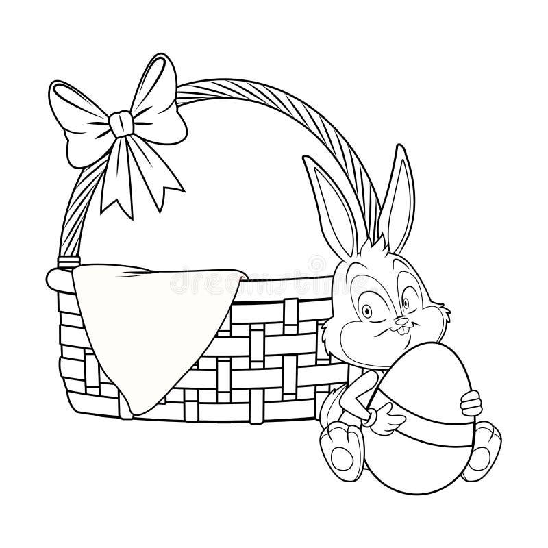 Łozinowy kosz z tasiemkowym Easter królikiem czarny i biały ilustracji