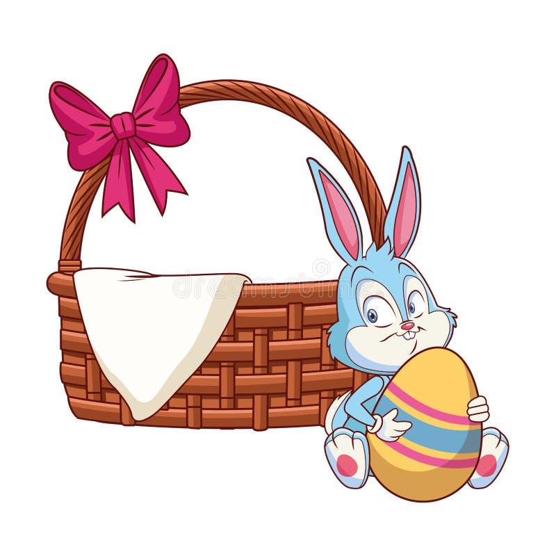 Łozinowy kosz z tasiemkowym Easter królikiem royalty ilustracja