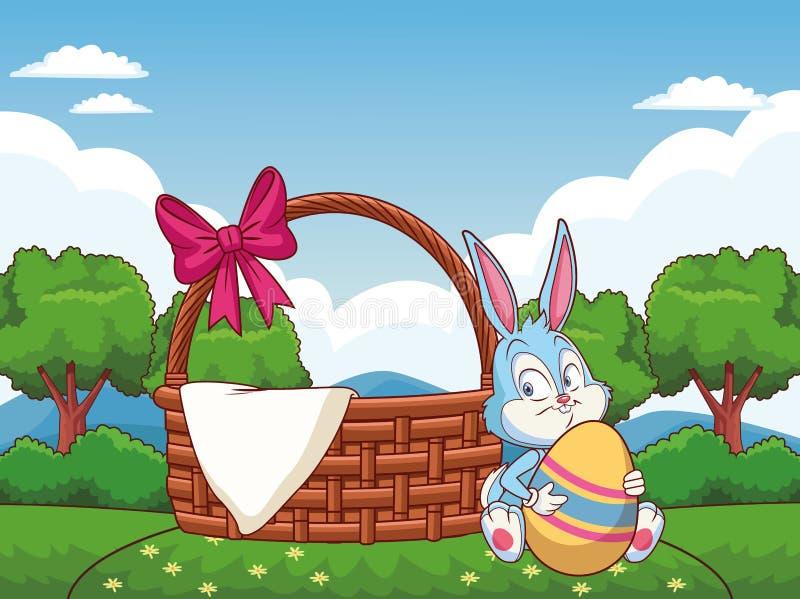 Łozinowy kosz z tasiemkowymi Easter królika natury tła drzewami ilustracji
