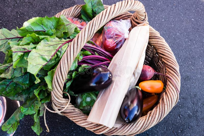 Łozinowy zakupy kosz świezi warzywa i produkt spożywczy przy gospodarstwem rolnym fotografia stock