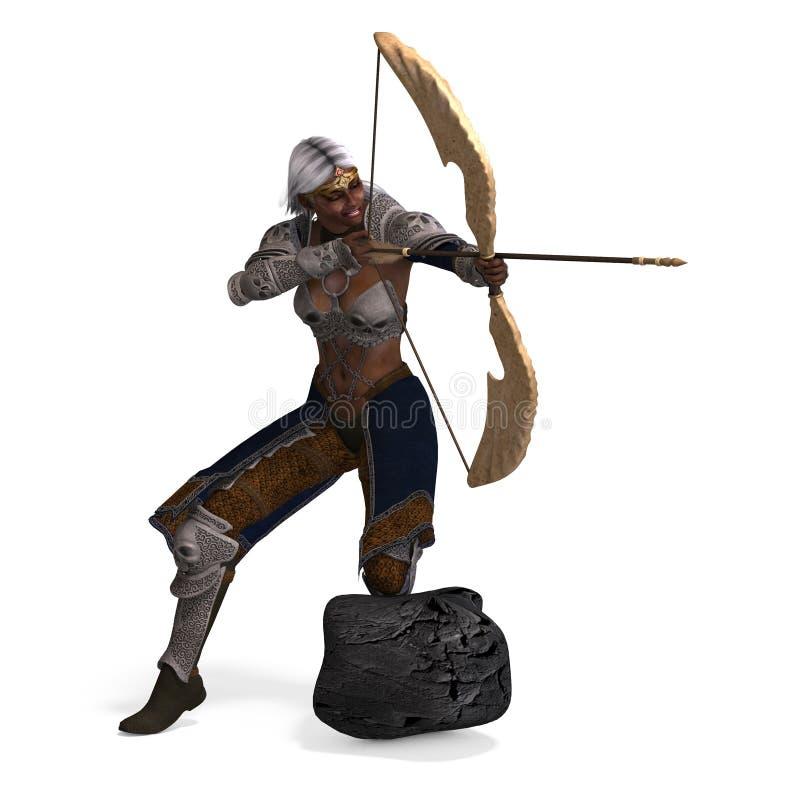 łuczniczki ciemna elfa kobieta royalty ilustracja