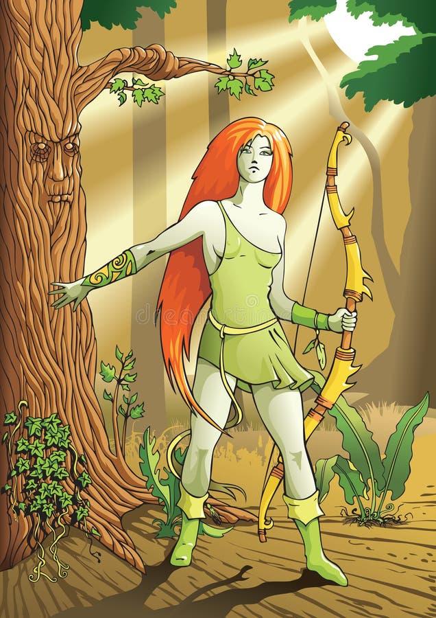 łuczniczki elfa kobieta ilustracja wektor