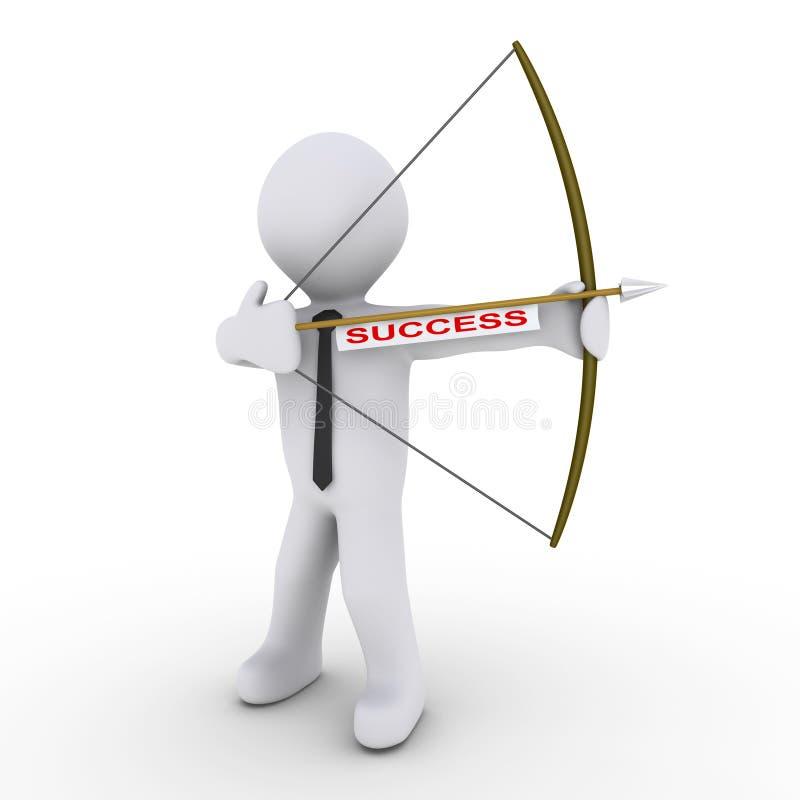 łuczniczki strzała jako biznesmena sukcesu etykietki używać ilustracja wektor