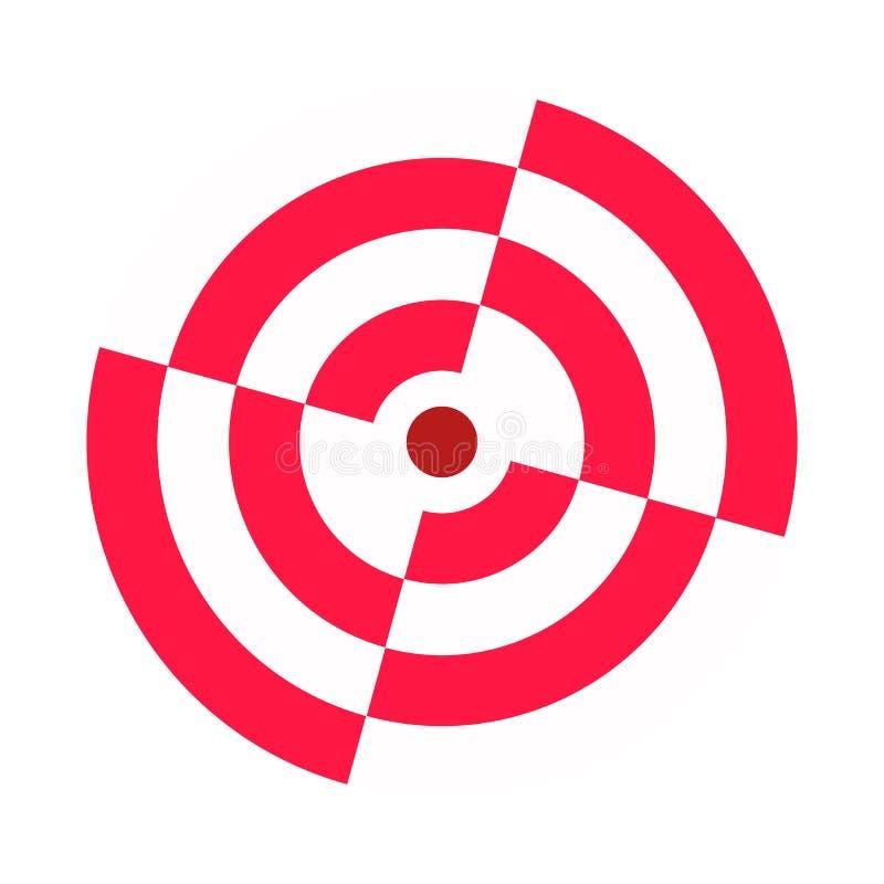 Łuczniczy cel łamający sektory Czerwony biel Ikona, symbol, szablon ilustracji