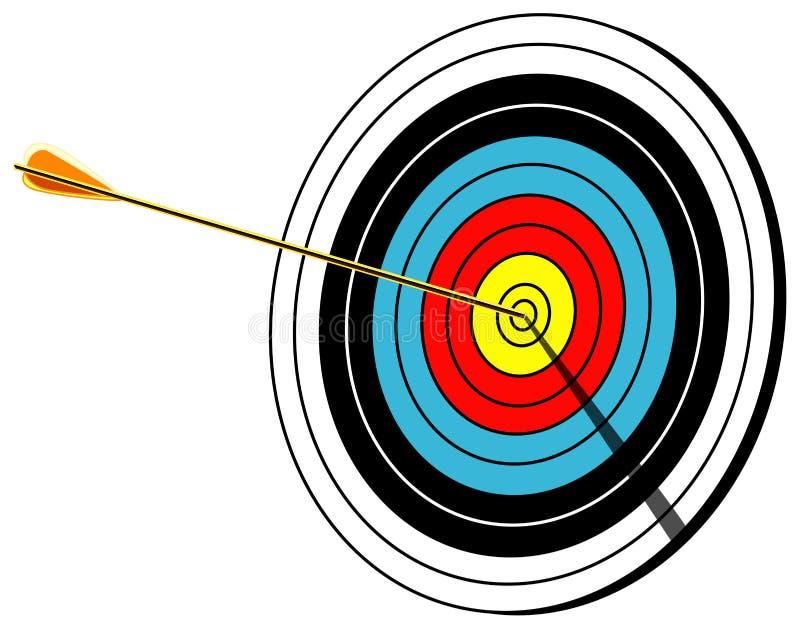 Łuczniczy cel, bullseye, na białej, wektorowej ilustraci, ilustracja wektor