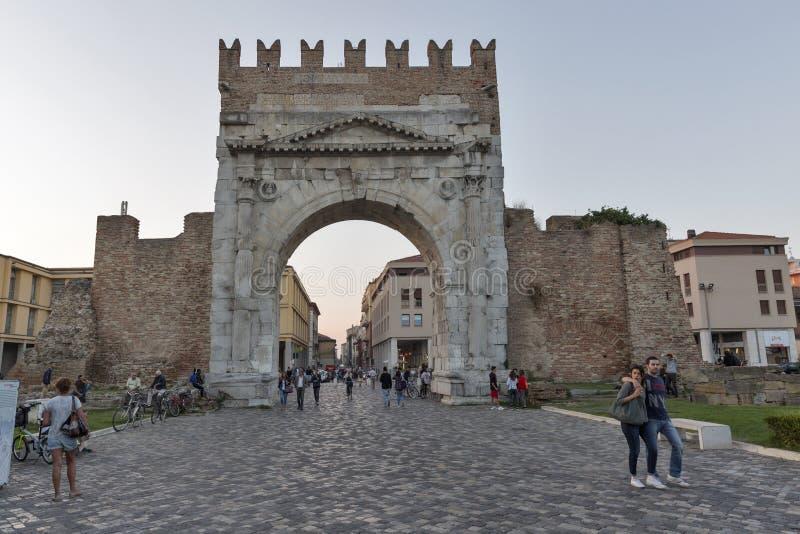Łuk Augustus w Rimini, Włochy obraz royalty free