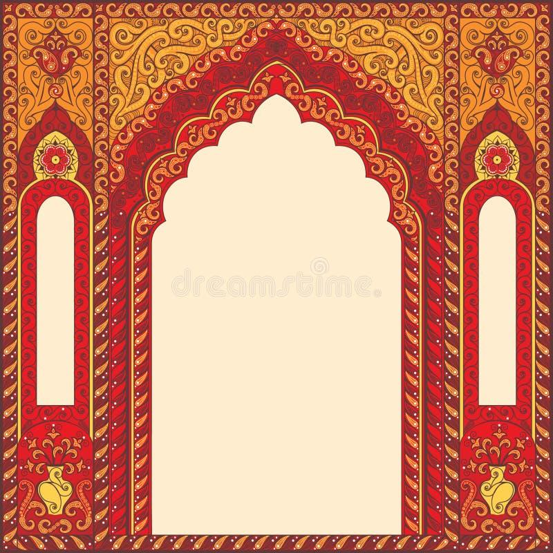 Łuk res w orientalnym stylu z Arabskimi tradycyjnymi ornamentami royalty ilustracja