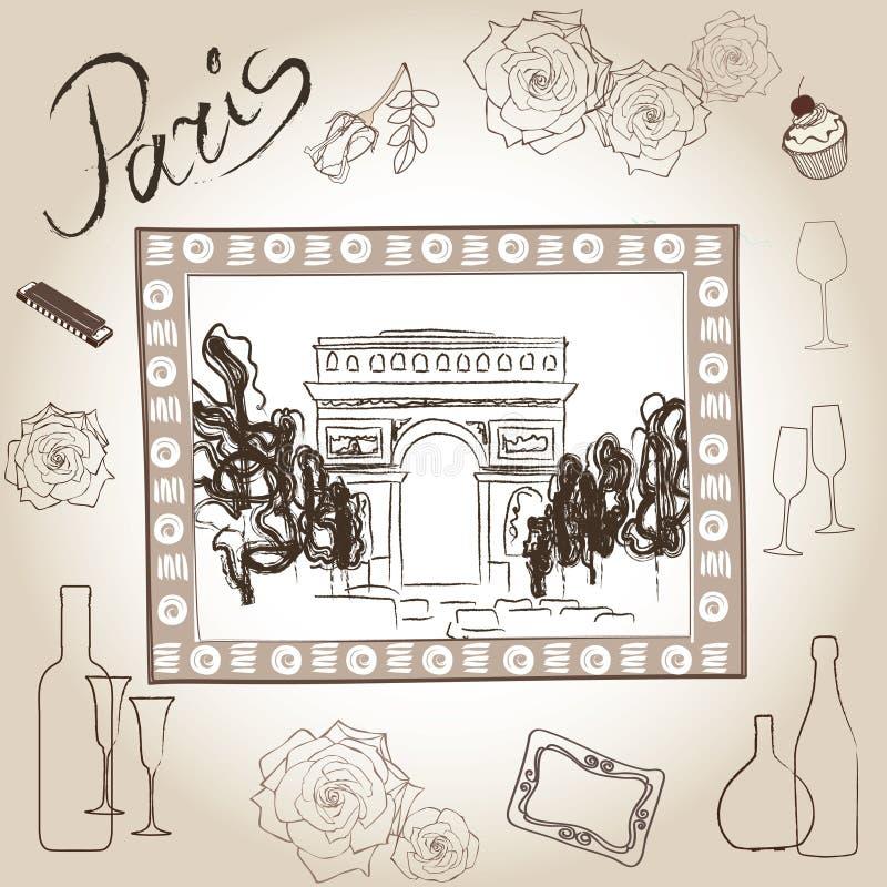 Łuk Triumph obrazek w ramie. Paryski ilustracja set. Miłości Paris ramy rocznika kolekcja. Scrapbooking ręki ołówkowy dr royalty ilustracja