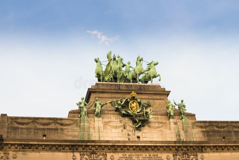 Łuk Triumph park Fiftieth rocznica w Belgia obraz royalty free
