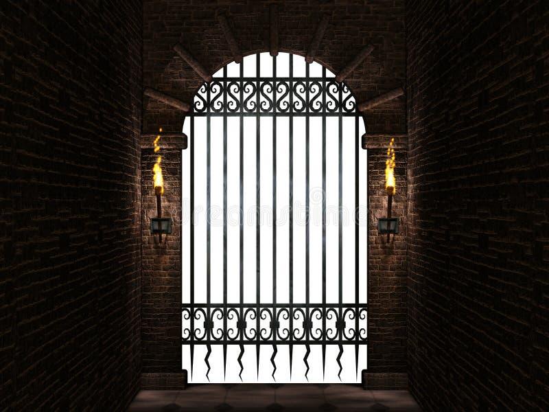 Łuk z żelazną bramą odizolowywającą ilustracji