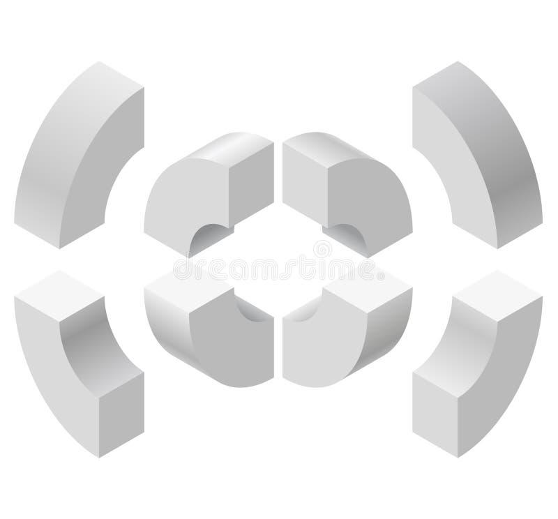 Łukowaci kształty w isometric perspektywie, odizolowywającej na białym tle Podstawowi elementy dla tworzyć abstrakcjonistycznych  ilustracja wektor