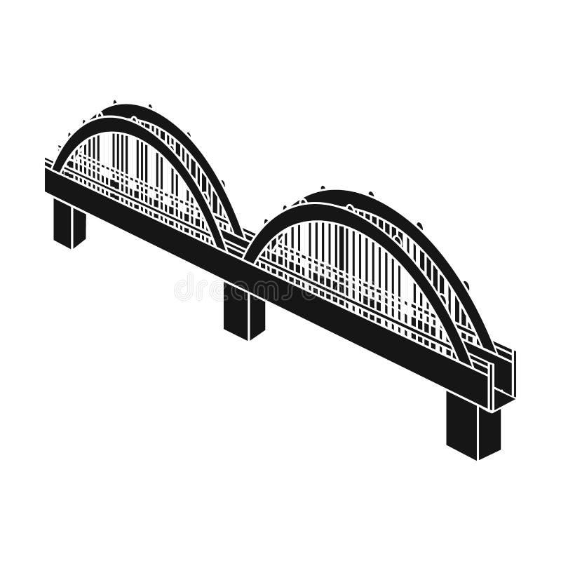 Łukowata bridżowa budowa Most pojedyncza ikona w czerń stylu ilustracji