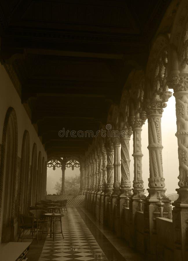 Łukowata galeria Sepiowy wizerunek - Bussaco pałac, Mgłowy dzień - obrazy stock