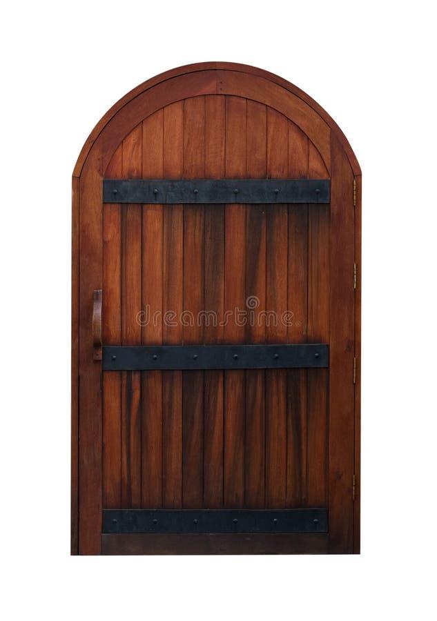 Łukowaty Średniowieczny Drewniany drzwi odizolowywający na bielu fotografia stock