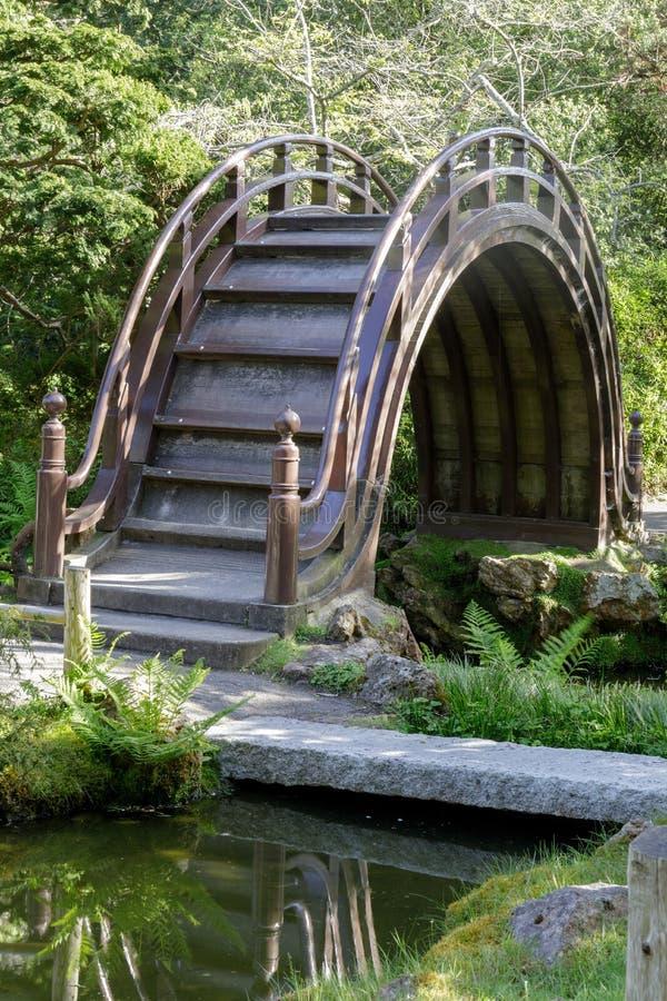 Łukowaty bębenu most w Japońskim Herbacianym ogródzie fotografia stock