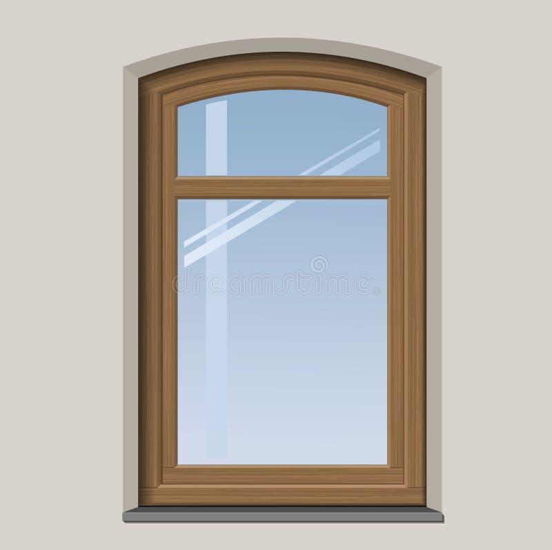 Łukowaty drewniany okno ilustracji